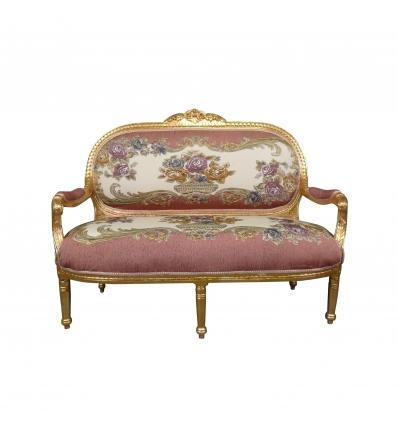 Canapé Louis XVI royal rose