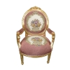 Fauteuil Louis XVI Royal rose