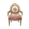 Fauteuil médaillon Louis XVI Royal rose