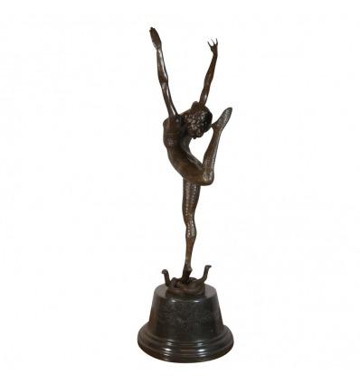 Statua in bronzo art deco ballerino con i serpenti - Mobili -