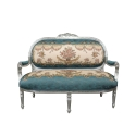 Людовика XV диван древесины белый и сатина ткань