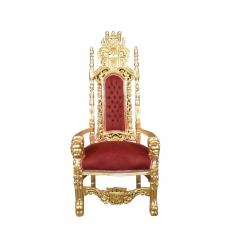 Sedia al trono reale barocca rossa e oro