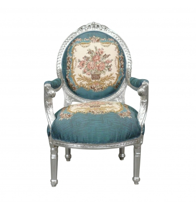 Louis XVI armchair in black velvet