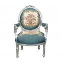 Fauteuil médaillon Louis XVI Royal bleu