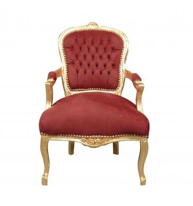 Vermelho barroco e ouro Louis XV poltrona