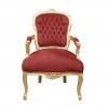 Barokki punainen ja kulta Louis XV nojatuoli