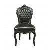 Chaise baroque en bois laqué noir et PVC