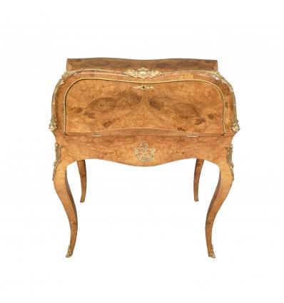 Bureau de pente Louis XV en ronce d'érable