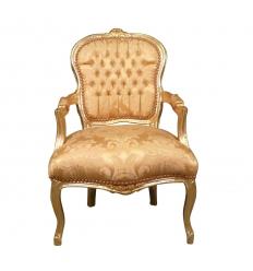 Fauteuil Louis XV en bois et tissu doré