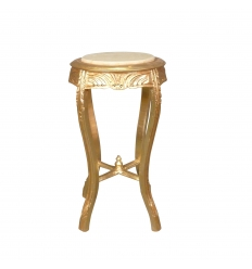 Sellette baroque en bois doré marbre beige