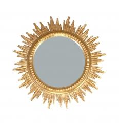 Miroir baroque soleil en bois doré