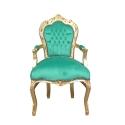 Fauteuil baroque en velours vert