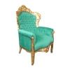 Fauteuil baroque moderne royal en velours vert