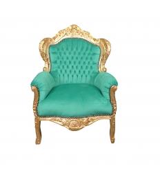 Fauteuil baroque royal en velours vert