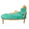 Méridienne baroque en velours vert