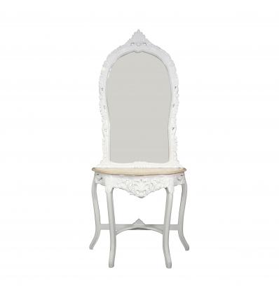 Console baroque blanche marbre beige vintage