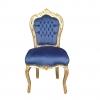 Chaise baroque velours bleu - Mobilier rococo