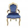 Fauteuil baroque velours en bleu - Mobilier rococo