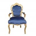 Fauteuil baroque velours en bleu