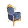 Fauteuil moderne baroque royal en velours bleu