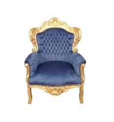 Fauteuil baroque royal en velours bleu