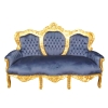 Canapé baroque en velours bleu