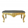 Table basse baroque en bois doré et marbre