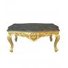 Table basse style baroque en bois doré et marbre