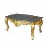 Table basse baroque en bois sculpté doré et marbre