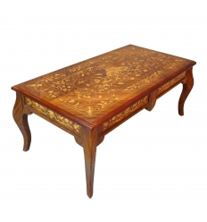 Louis XV coffee table in marquetry decorated with bronzes