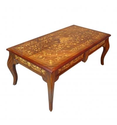 Table basse Louis XV décor de marqueterie