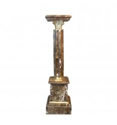 Colonne en marbre et bronze - Marbre brun veines blanches