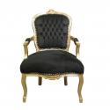 Fauteuil Louis XV noir et bois doré - Meuble baroque