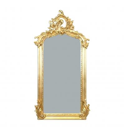 Miroir baroque en bois doré - H: 109 cm