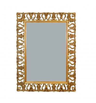 Miroir baroque en bois doré ajouré - H:120 cm