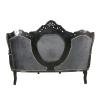 Canapé baroque en velours noir et cadre noir - Meubles baroques