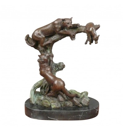 Bronze sculpture - Cougars on the hunt