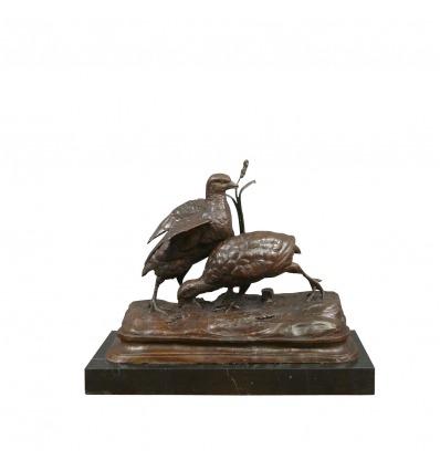 Bronzestatue - Die zwei Rebhühner