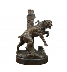Bronze statue of a bulldog attached to a pole