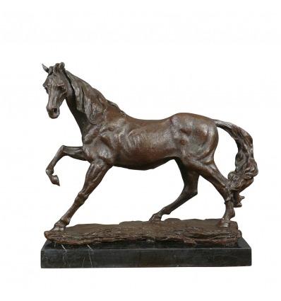 Statue bronze cheval sur une base en marbre - Sculptures en bronze -
