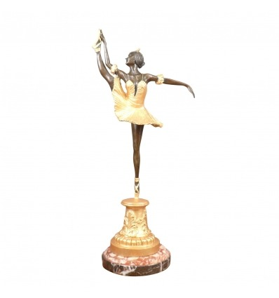 Bronze statue of a dancer patinated brown and gold art deco style -