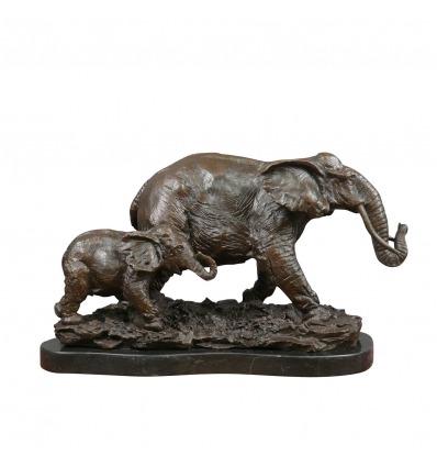 Sculpture en bronze - Éléphant et son éléphanteau