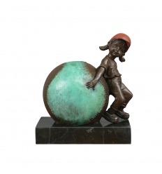 Bronzeskulptur - Das Kind und der Baseball