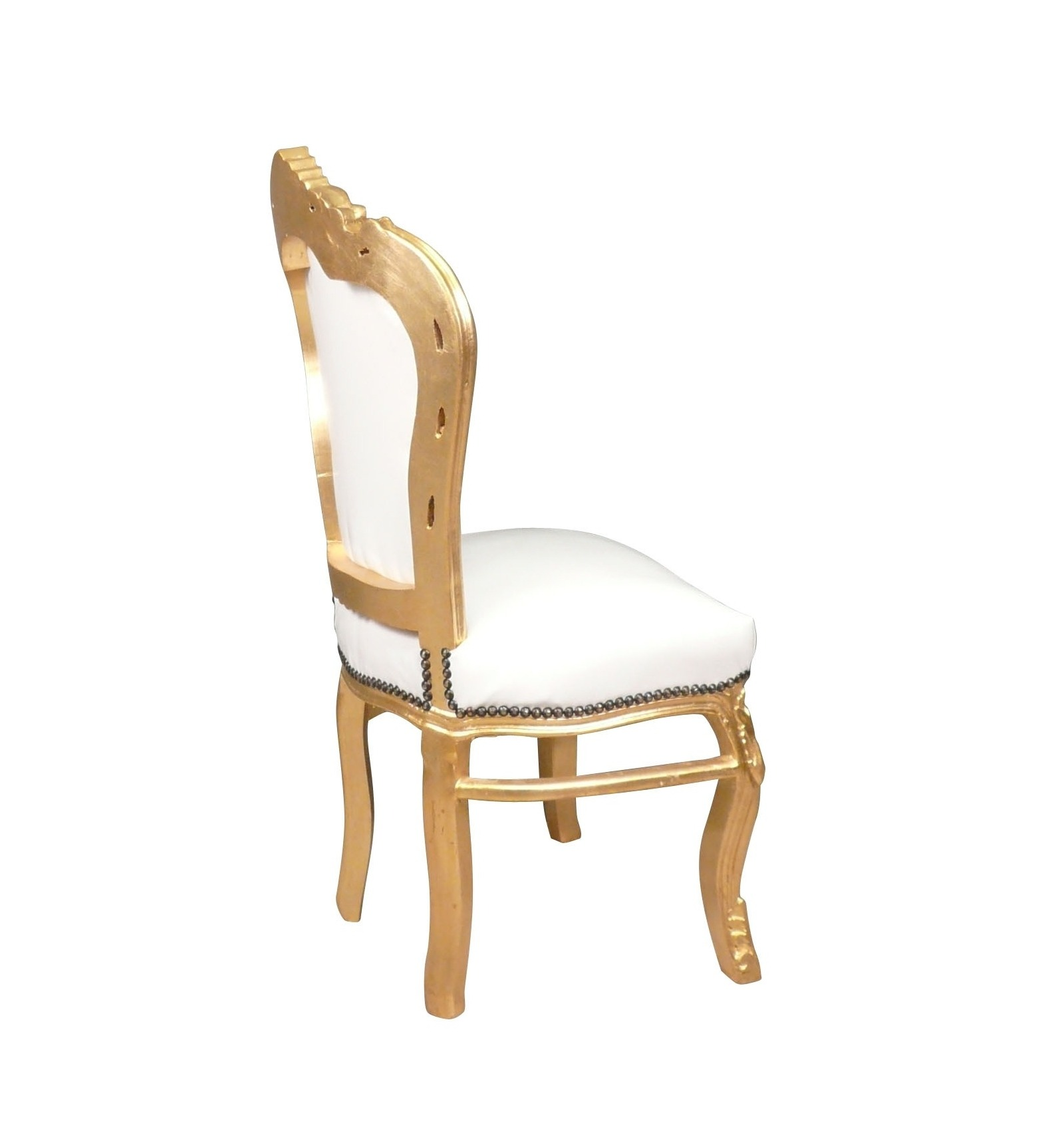 Chaise baroque banche et or fauteuil - Chaise blanche baroque ...