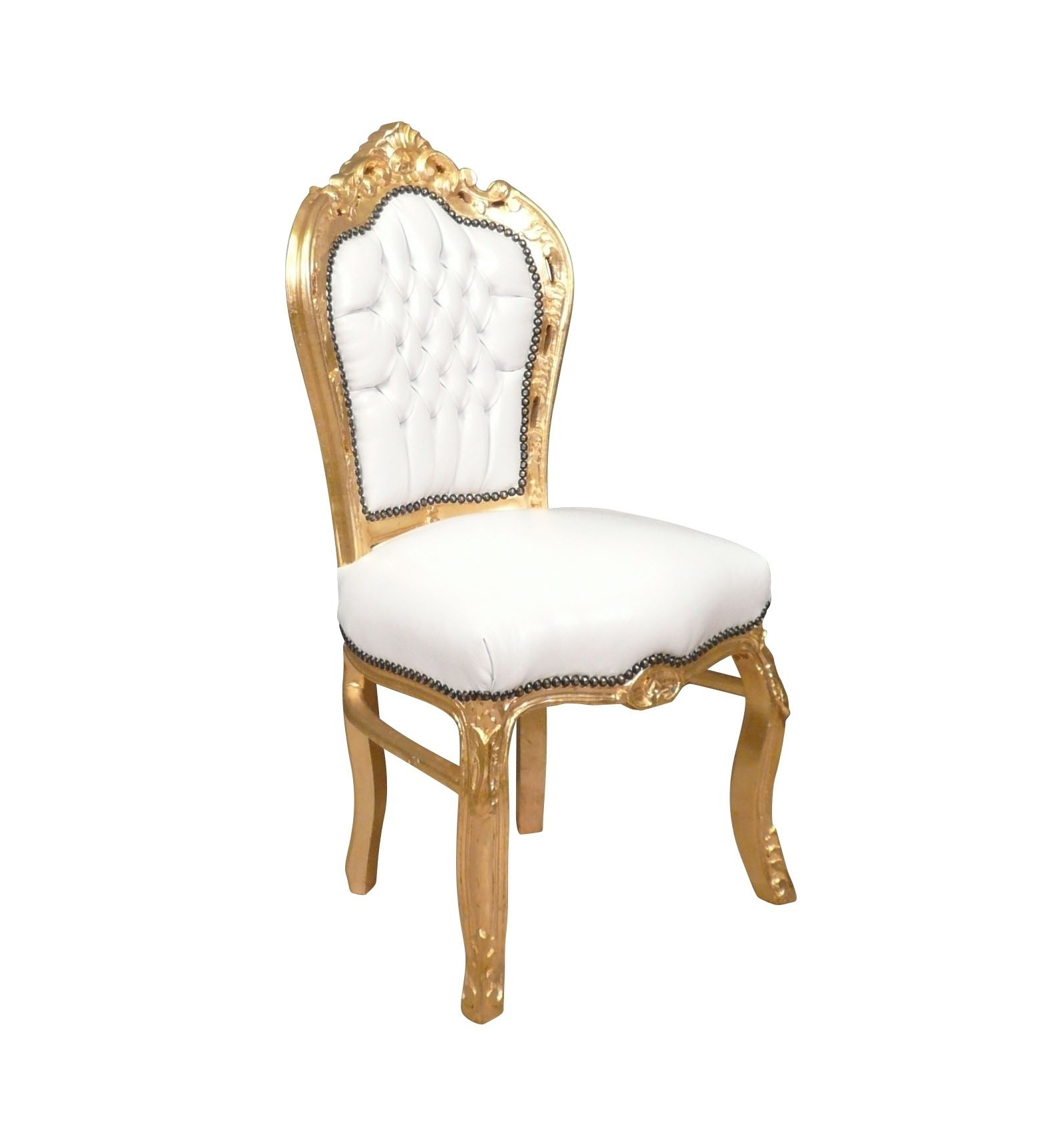 Chaise baroque banche et or fauteuil - Chaise baroque blanche ...