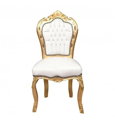 Baroque chair in solid gilded wood - Baroque white furniture -