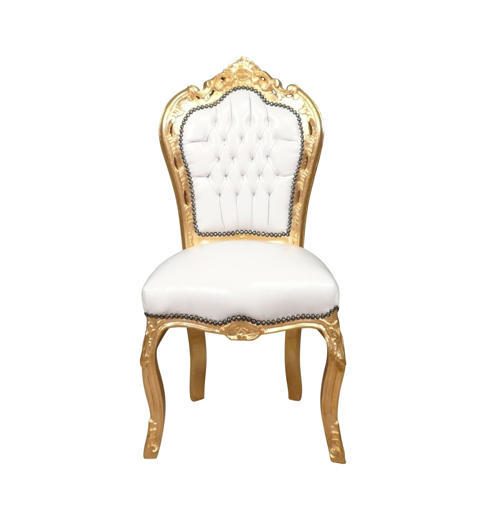 Chair baroque white solid wood golden white furniture - Chaise baroque argentee ...