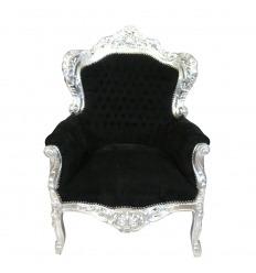Fauteuil baroque royal noir et argent tissu velours