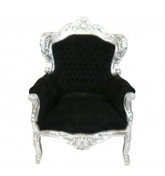 Fotel królewski barokowy czarny i srebrny