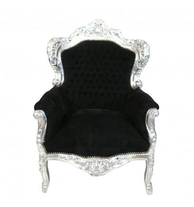 Královské černé barokní křeslo ve stříbrném vyřezávaným nábytku